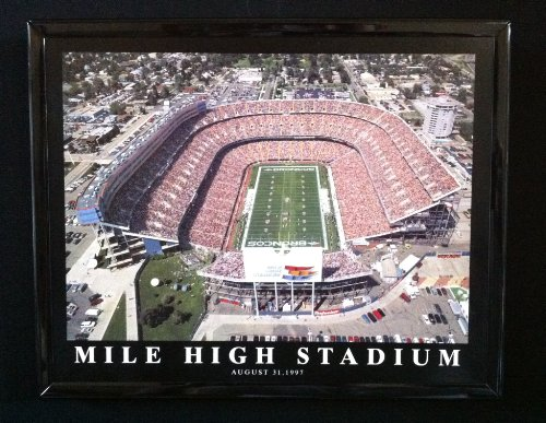 Denver Broncos Old Mile High Stadium Aerial Photo - Denver Broncos Framed Wall