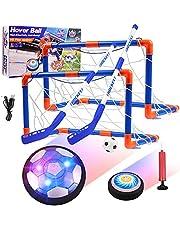 Diealles Shine Kids Hover Voetbalset, Oplaadbare Air Power Voetbal met LED Licht en Foam Bumper, Indoor en Outdoor Voetbalspel Speelgoed met doelen en Opblaasbare Voetbal voor jongens meisjes