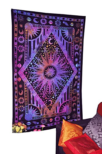 Twin Blue Tie Dye Purple Burning Sun Tapestry, Celestial Sun Moon Planet Bohemian Tapestry Tapestry Tapestry Wall Hanging Boho Tapestry Hippie Hippy Tapestry Beach Coverlet Curtain By Fashion-us
