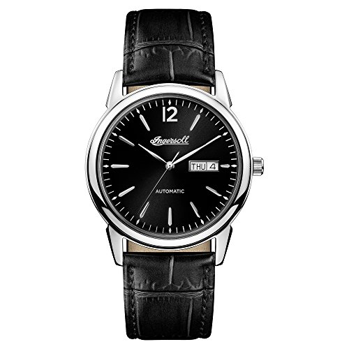 Ingersoll Men's Automatic Stainless Steel and Leather Casual Watch, Color:Black (Model: I00502)