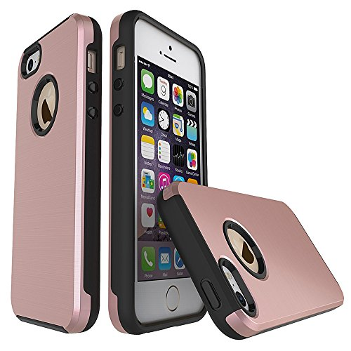 For iPhone 5S/5/SE Case, 2-in-1 Soft TPU + Hard PC Hybrid Spider Web Pattern Slim Lightweight Shockproof Protective Case for iPhone 5S/5/SE 4.0 Inch,Rose - Rose Web