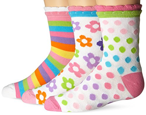 Jefferies Socks Big Girls Daisy Stripe Dots Crew Socks(Pack of 3)