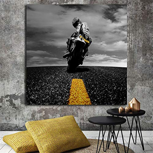 (JESC Canvas Wall Art Valentino Rossi Wall Art Canvas Posters Prints Painting Wall Pictures for Office Bedroom Modern Home Decor Painting No Frame)