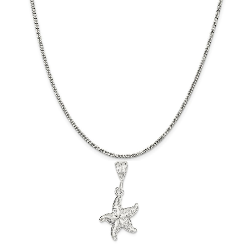 Mireval Sterling Silver Starfish Charm on a Sterling Silver Chain Necklace 16-20