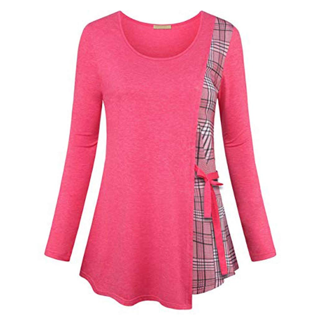 Womens Plus Size Top Long Sleeve Plaid Pullover Shirts Color Block Tunic Tops T Shirt Blouses for Women Fashion 2019