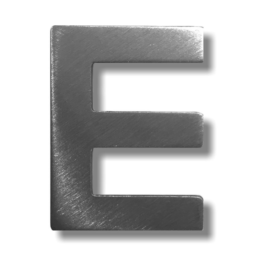 Metal letter E Brushed Stainless Steel with 3 M Adhesive –  4 cm Hö he dieHolding