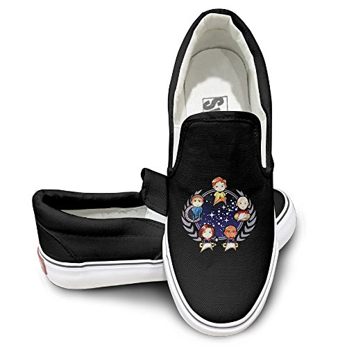 EWIED Unisex Classic Cartoon Star Cool Trek Logo Slip-On Shoes Black Size41