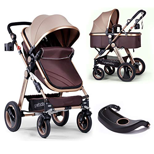 Infant Baby Stroller for Newborn and Toddler – Cynebaby Convertible Bassinet Stroller Compact Single Baby Carriage Toddler Seat Stroller Luxury Pram Stroller add Cup Holder Footmuff and Stroller Tray