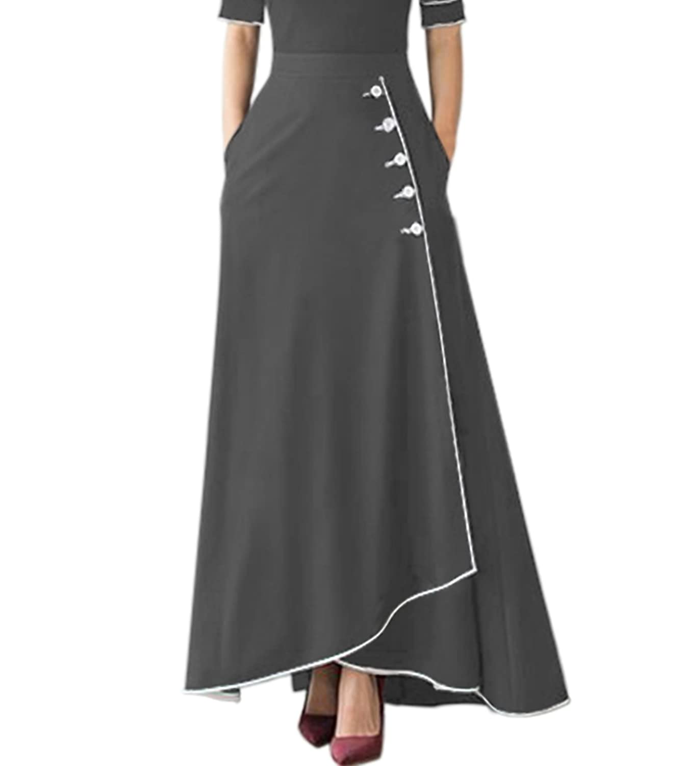 FIYOTE Women High Waisted Button Front Slit A-Line Flared Long Maxi Skirt With Pocket S-XXL