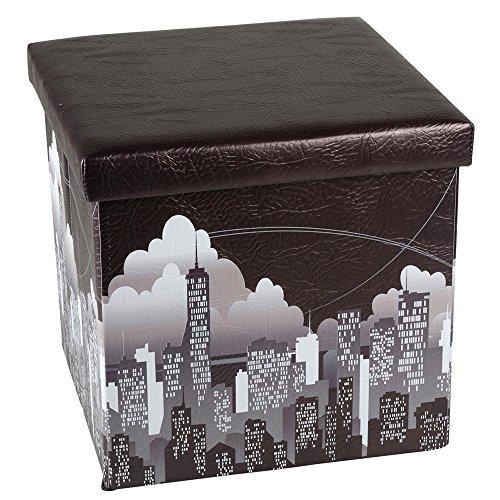 De alta calidad de la banco de taburete con asiento en forma de cubo de almacenaje de 76,5 x 38 cm incluido 1 papel 16L bolsa de basura Sitzhocker Motiv Skyline