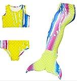 HAcostumes 3pcs Swimmable Mermaid Tail for Kids Girls Princess Bikini Set Swimsuit Swimwear, 3-12Years