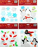 Winter Window Clings Gel - Penguins Snowmen Snowflakes and Candy Canes - Bundle of 4