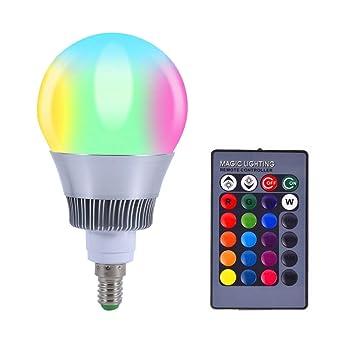Bombilla LED Bombilla de luz LED que cambia de color, RGB 10W E14 Bombilla de luz LED de 16 colores con control remoto 85-265V(E14): Amazon.es: Bricolaje y ...