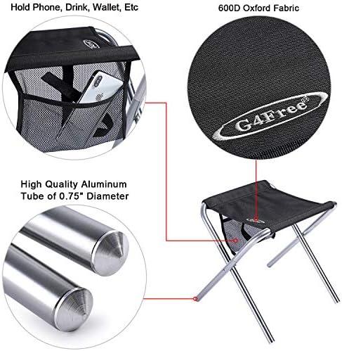 G4Free Camping Tabouret Pliant avec Poche De Rangement en Maille en Plein Air Slacker Chaise pour BBQ P/êche Voyage Randonn/ée Jardin Plage