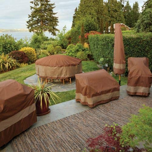 Duck Covers USC102102 Ultimate V-Shape Sectional Lounge Set Cover, Mocha Cappuccino