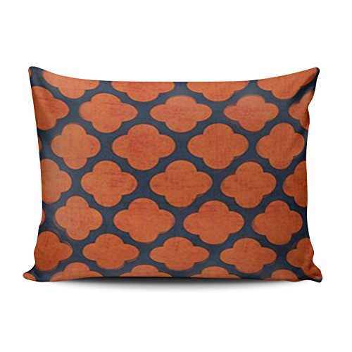 SALLEING Custom Royal Modern New Navy and Orange Clover Decorative Pillowcase Pillowslip Throw Pillow Case Cover Zippered One Side Printed 12x20 Inches ()