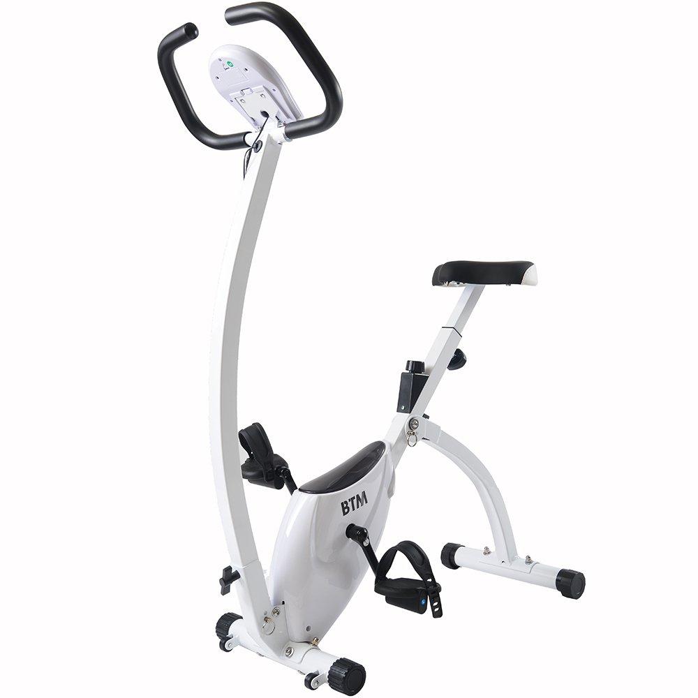 BTM フィットネスバイク スピンバイク 折り畳み式 静音 多機能デジタルメーター付き 二色対応  ホワイト B07D3LNQKN