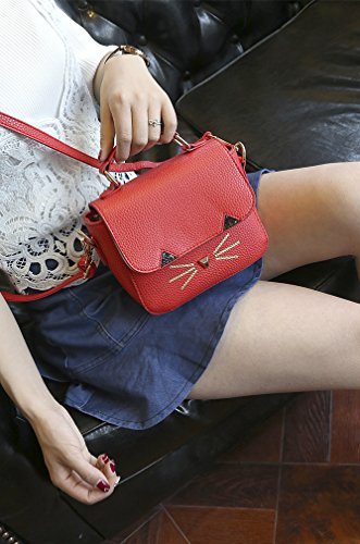 Bag Shoulder Cute Messenger Handbag Square Women's Cat Red Square QZUnique Satchel wB5qxYXB