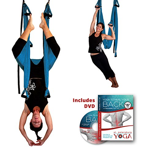 Inversion Sling - Yoga Swing Original GravoTonics (Turquoise) & Yoga Back DVD by Gravotonics