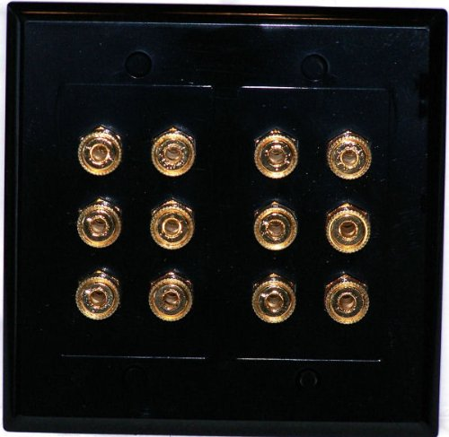 Black 12 Post Speaker Wall Plate for 6 Speakers Dolby 6.1 - Media Room Series