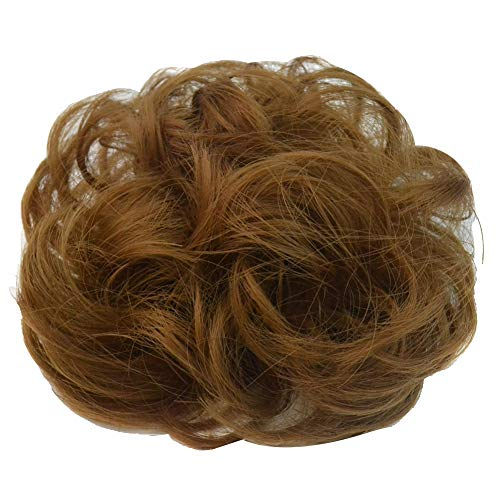 (PrettyWit Hairpieces Short Curly Hair Extension Messy Hair Bun Updo Extensions Donut Hair Chignons Hair Piece Wig Scrunchy Bridal Drawstring Hair Chignons-Strawberry Blonde)