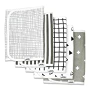 "Burp Cloths for Boys & Girls by Matimati Baby, Extra Large 21""x10"" & Super Absorbent Burp Cloth Set of 5, Keep Baby's & Parent's Clothes Dry, Excellent Gift ""Monochrome"