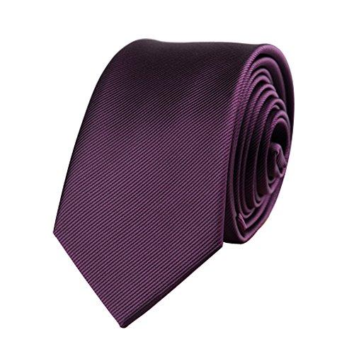 Mens Skinny Tie Wedding Business Necktie with Stripe Textured 6 cm / 2.4inches- Multi Colors (Dark Purple)