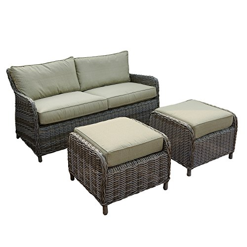 Abba Patio Loveseat and Ottoman Set with...