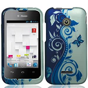 Hard Shell Protective Snap-On Case Cover For Huawei Prism 2 II U8686 Huawei Inspira H867G - Blue/ Silver Vines