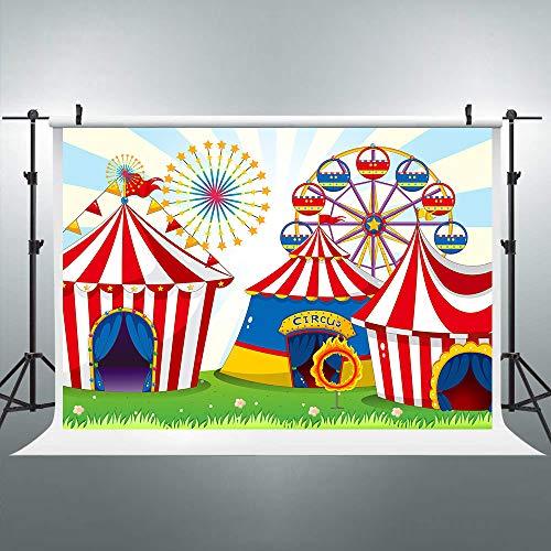 Riyidecor Circus Carnival Backdrop Ferris Wheel Red Tent 7x5ft Cartoon Kids Photography Background Decorations Newborn Birthday Party Photo Studio Shoot Backdrop Blush Vinyl Cloth ()