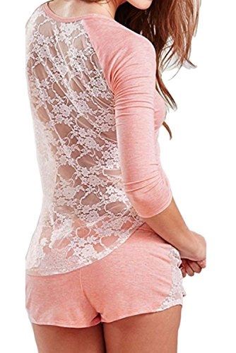 Sexy Women Lace Hollowed-out Pajamas Set Comfortable Summer Home Clothes (M, Pink)