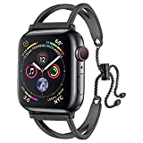 sunkeyou Compatible Apple Watch Band 38mm 42mm, Newest Released Jewelry Bangle Cuff Replacement Bracelet Straps Iwatch Series 4 3 2 1 All Models (Black, 42mm/44mm)