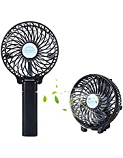 HAPPYSALLER Mini Portable Fan, Handheld Electric Mini Portable Outdoor Fan, Foldable Handheld Fan & USB Rechargeable, 3 Speeds, for Home Office and Travel