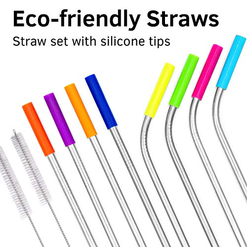 Wave Silicone (Stainless Steel Straw Set with Silicone Tips 8 straw 2 cleaning brush - Drinking Straws Set for Tumblers - Reusable Metal Straws Cups Mug - Extra Long 10.5 - Reusable Steel Straws 4 straight 4 bended)