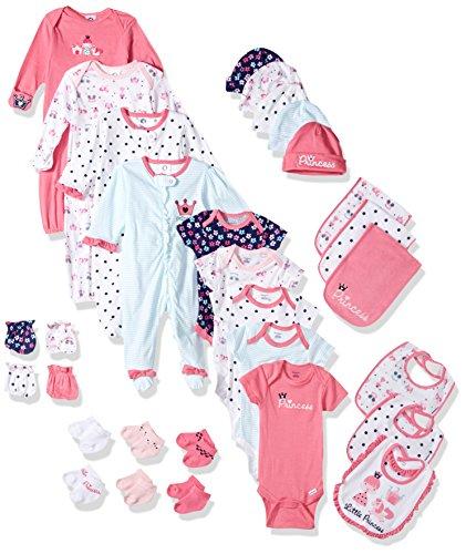 Gerber Baby Girls 30 Piece Essentials Gift Set, Princess, 0-3M: Onesies/Sleep 'n Play/Sock/Mitten, 0-6M: Gown/Cap, 0-6 Months One Size: Bib/Burp