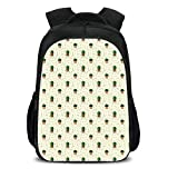 iPrint 15.7'' School Backpack,Cactus,Dotted Pattern with House Plants Design Latin American Cartoon Style Foliage Decorative,Cream Green Brown,for Teenagers Girls Boys