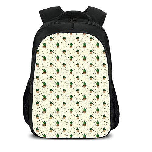 iPrint 15.7'' School Backpack,Cactus,Dotted Pattern with House Plants Design Latin American Cartoon Style Foliage Decorative,Cream Green Brown,for Teenagers Girls Boys by iPrint
