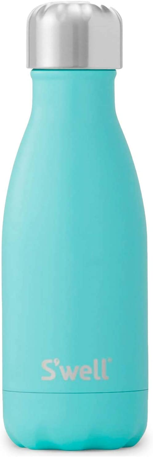 S'well Stainless Steel Water Bottle - 9 Fl Oz - Turquoise Blue - Triple-Layered Vacuum-Insulated Containers Keeps Drinks Cold for 27 Hours and Hot for 12 - with No Condensation - BPA Free Water Bottle