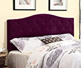 Furniture of America Satin Flax Fabric Button Tufted Headboard, Full/Queen, Purple