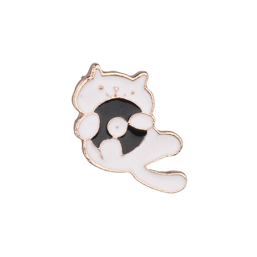 Guoshang Fashion Cute Cat with a Record Gold Brooch Pin Delicate Cartoons Collar Pin Badge Perfect Gift,Party Accessories Jewelry