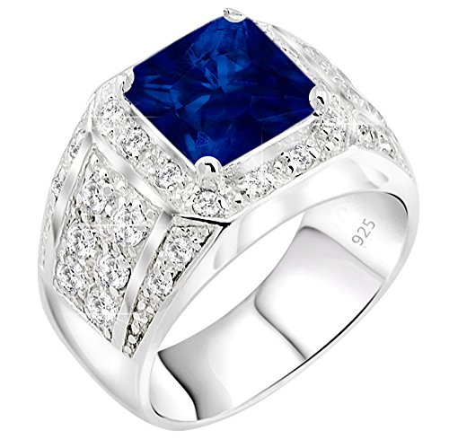 (Men's Elegant Sterling Silver .925 High Polish Princess Cut Ring Featuring a Synthetic Blue Sapphire Stone Surrounded by 32 Fancy Round Prong-Set Cubic Zirconia (CZ) Stones. (9))