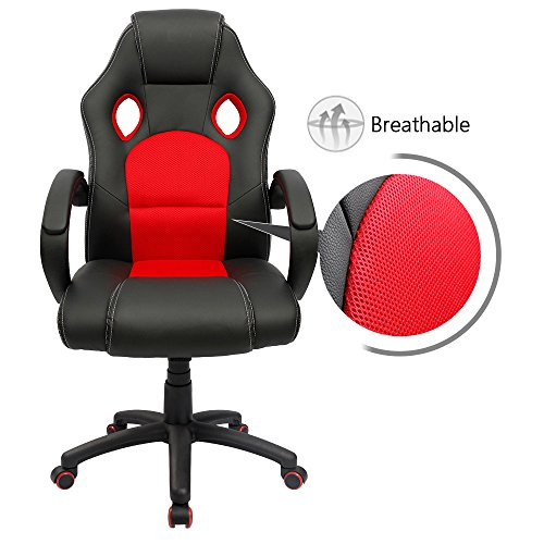 Furmax MY0002New Executive Racing Office Swivel Desk PU Leather and Mesh Bucket Seat,Computer Lumbar Support Chair (Red)