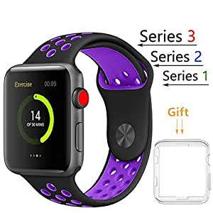 Threenine for Apple Watch Band, Durable Soft Silicone iWatch Strap Replacement Sport Band for Apple Watch Band Series 3 Series 2 Series 1 Sport, Edition (Black / Purple, 38mm S/M)