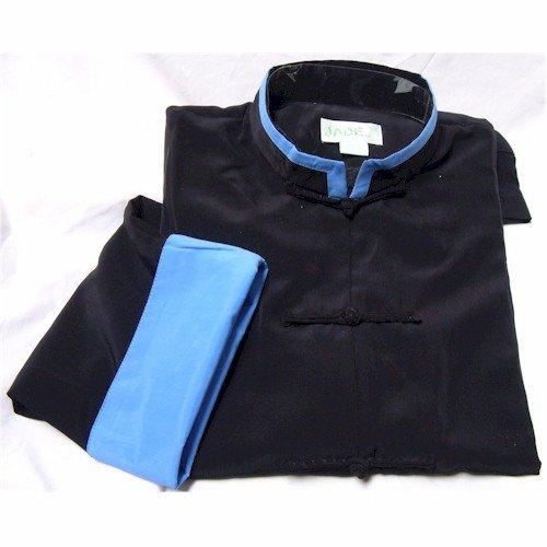 Blue Trim Black Rayon Silk Mandarin Collar Kung Fu Jacket, Size XL by Jade