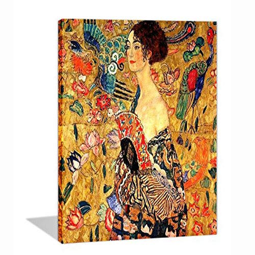 Paint by Numbers 16 x 20 inch Canvas Art Kit DIY Oil Painting for Kids/Students/Adults Beginner, Klimt's The Woman with Fan
