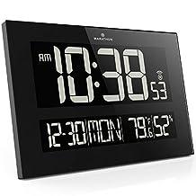 MARATHON CL030059 Reverse LCD Display Jumbo Atomic Wall Clock