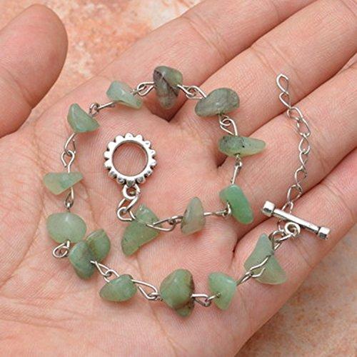 natural green aventurine gemstone chips beaded link bracelet