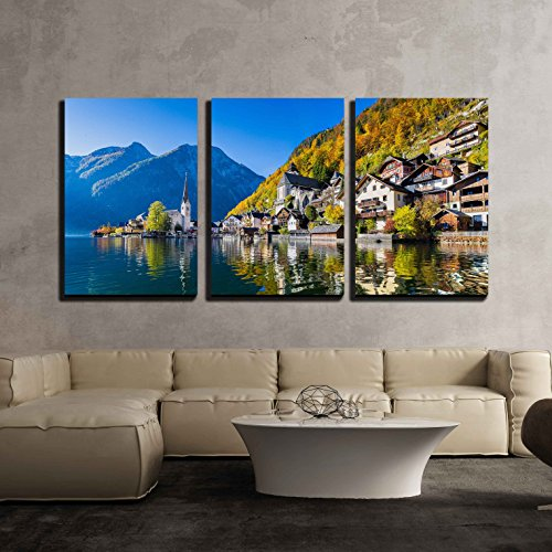 (wall26 - 3 Piece Canvas Wall Art - Scenic Picture-Postcard View of Famous Hallstatt Mountain Village with Hallstaetter Lake - Modern Home Decor Stretched and Framed Ready to Hang - 16