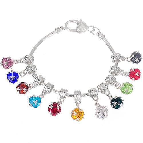 RUBYCA Mixed Colors Crystal Ball Dangle Silver Charms