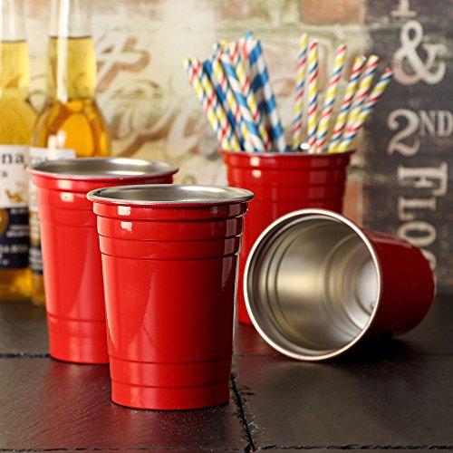 Durable Modeling Vasos De Fiesta De Acero Inoxidable Rojos